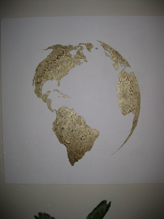 Hand painted map of the world White and Bronze by 10kiaatstreet, $325.00