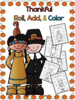 FREEBIE -- Thanksgiving - Roll, Add, & Color