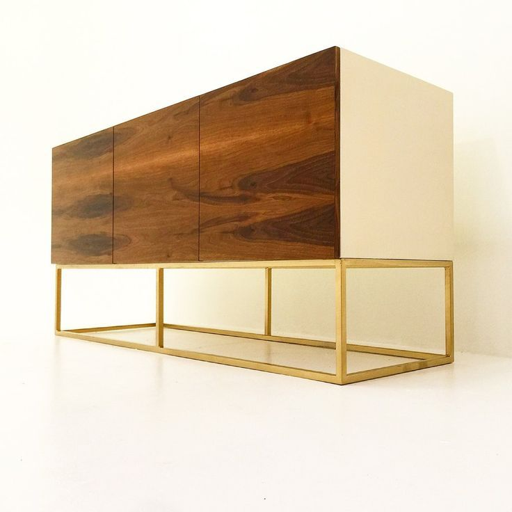 Classic 70's inspired Hollywood Regency credenza. Lacquered body in antique white with press open walnut doors. Brass base. Handmade furniture in Los Angeles. Mid Century, Hollywood regency, handmade, Los Angeles furniture