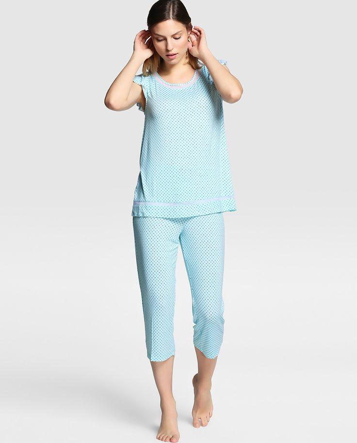 Pijama de mujer Lazo con detalles lisos en la camiseta - El Corte Inglés