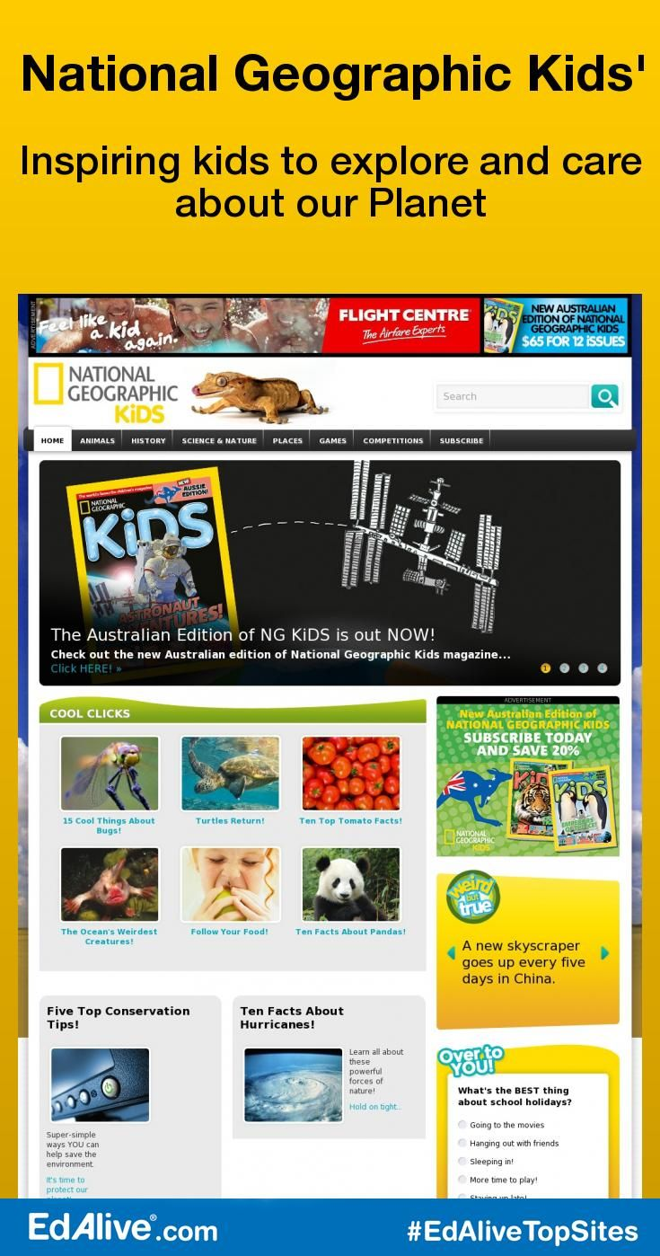 National Geographic Kids' | Inspiring kids to explore and care about our Planet | Play games, watch videos, learn about animals, and places, and get fun facts on the National Geographic Kids website. National Geographic Kids publishes ten issues annually. It has an advisory board of 500 subscribers and solicits reader feedback after each issue. #Geography #EdAliveTopSites