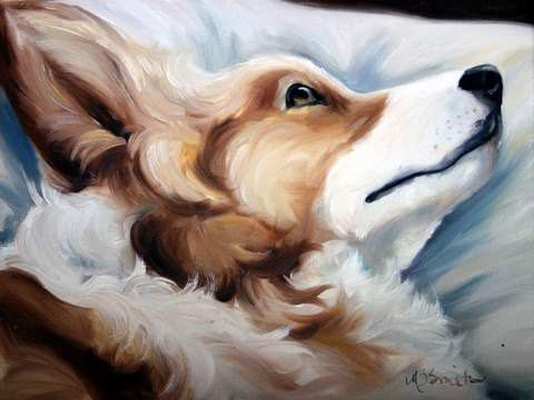 """Mary Sparrow Smith from Hanging the Moon – dog art, pets, portrait, paintings, gift ideas, home decor. Pembroke Welsh Corgi """"Now I Lay Me Down"""""""