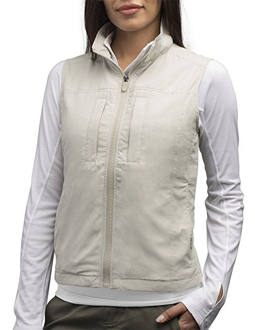 SCOTTeVEST Women's Featherweight Vest has 14 Pockets and it is cool for Warm Weather Travel. This is clothing you can count on. I love this travel vest and get envious travelers looking at it with me all the time. I feel so much safer when i have it on. My passport and money and other valuables are on my body, but not weighing me down.