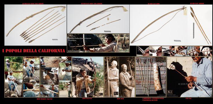 Archi, frecce e faretra tipici della California meridionale statunitense. L'arco, come tra le altre popolazioni indigene nordamericane, era l'arma da getto principe. Il suo utilizzo era sia per gli scopi bellici che per quelli venatori.