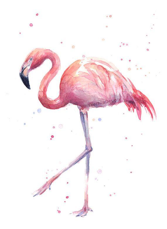 Flamingo Watercolor Painting Pink Exotic Bird by OlechkaDesign