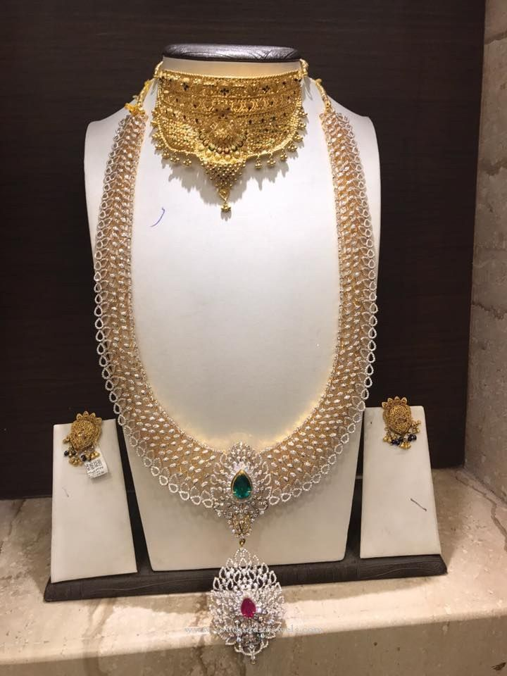 Gold CZ Stone Bridal Jewellery, Gold Bridal Jewellery with CZ Stones, Gold Stone Bridal Jewellery Collections.
