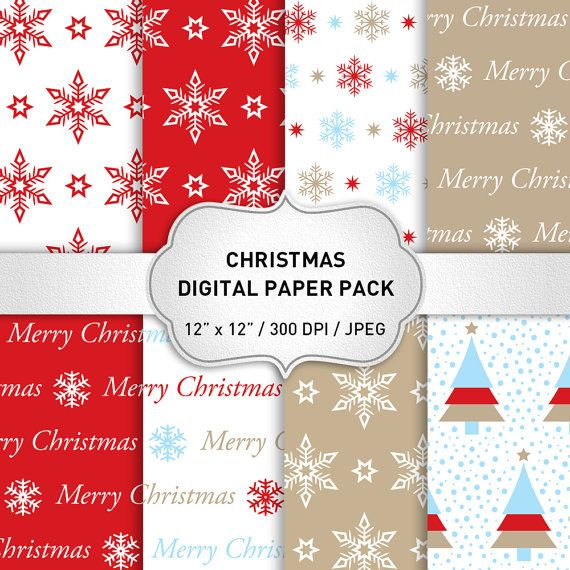 Red Christmas Digital Paper Holiday Paper Christmas by KlampDesign