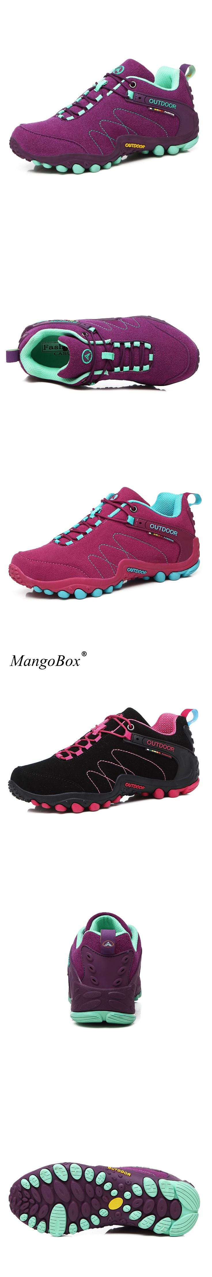 New Womens Hiking Sneakers Spring/Autumn Mountain Walking Boots Leather Trekking Shoes Black/Red Outdoor Sport Shoes