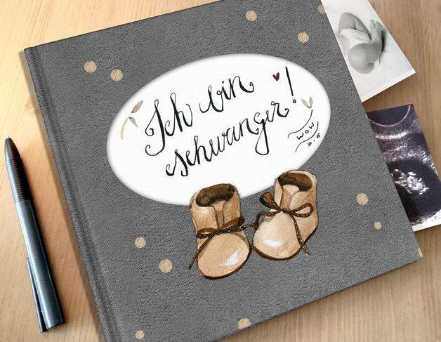"""Tagebuch für die Schwangerschaft """"Ich bin schwanger"""" / pregnancy diary with cute illustrations by Pipapier via DaWanda.com"""