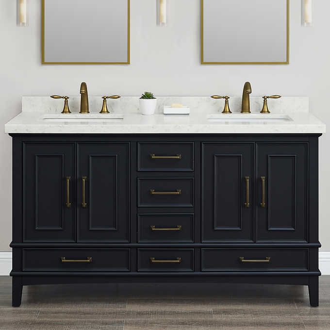 Parker Midnight 60 Inch Double Sink Vanity By Mission Hills Double Sink Bathroom Vanity Double Sink Vanity Traditional Bathroom Vanity