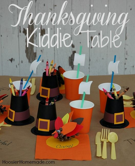 Let the kids help create a special table for themselves for Thanksgiving! Kiddie Table Craft Instructions on HoosierHomemade.com