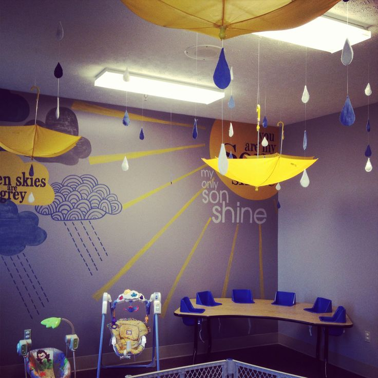 48 best rainy day nursery theme images on pinterest for Mural decoration ideas