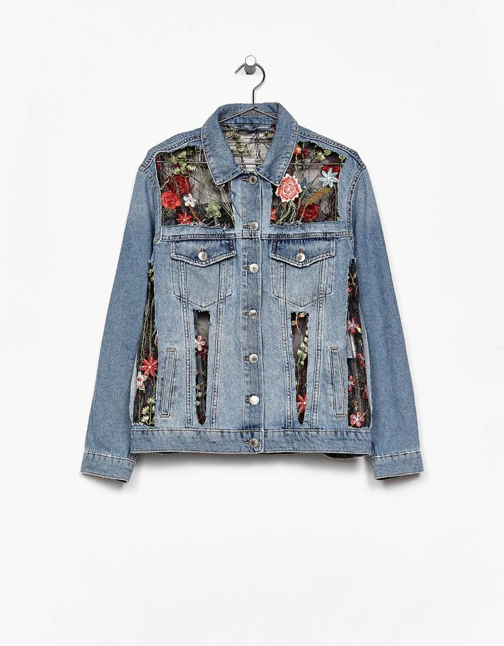 Tulle and denim jacket with floral embroidery. Discover this and many more items in Bershka with new products every week