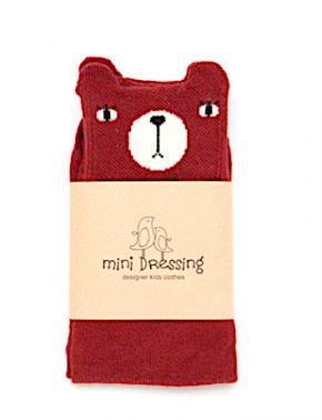 Mini Dressing Bear Knee Socks Red