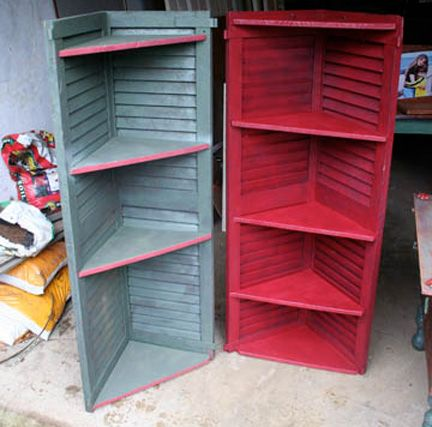 shutter corner shelves - cute for a bathroom or out on the deck