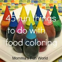 45 fun things you can do with food coloring. That says it all. If you have kids and food coloring life is good....and color-FULL!