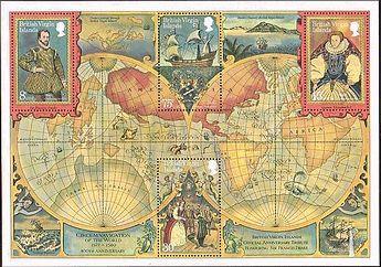 ヴァージン諸島で発行された世界地図 小型シート ドレイク船長