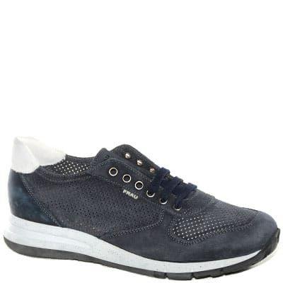 #Sneaker allacciata in camoscio blu con plantare estraibile in lattice