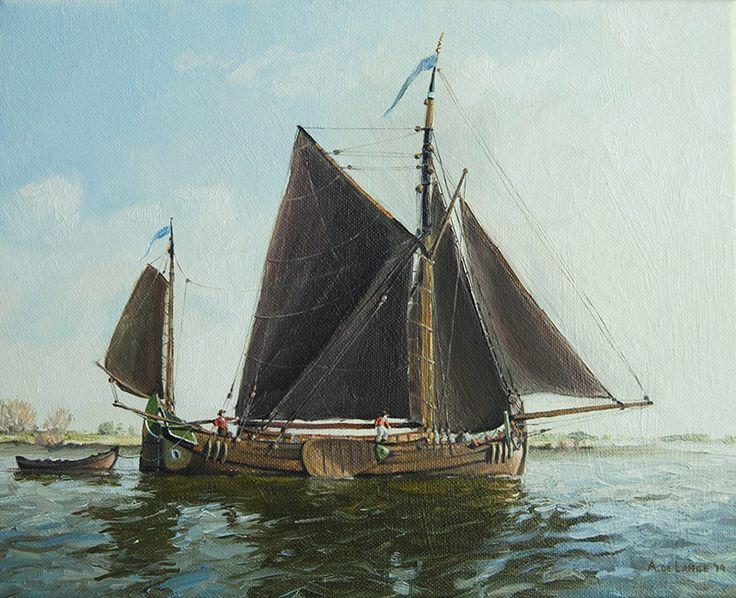 Schilderij schepen - Arnold de Lange - Vlaamse Pleyt - Olieverf op doek - 24 x 30 cm. -