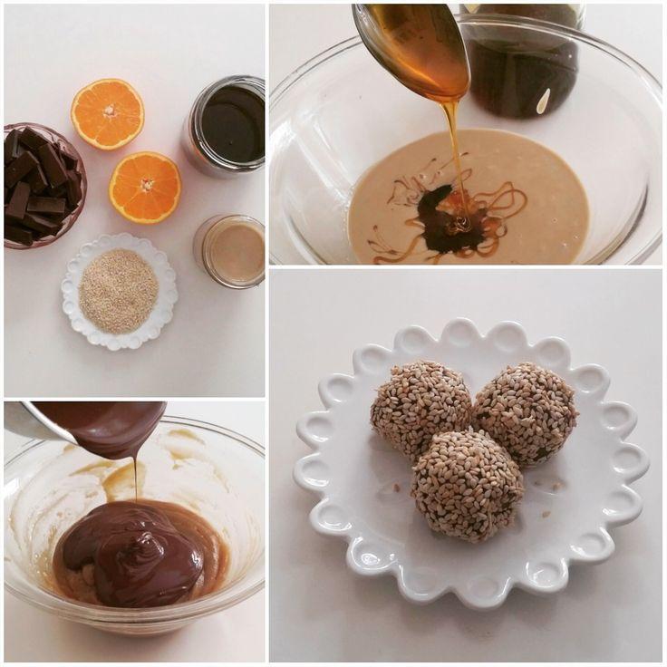 τρουφάκια με ταχίνι, μέλι & κουβερτούρα