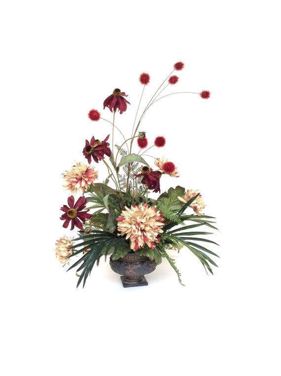 Silk flower arrangement silk floral arrangement home decor artificial flower arrangement for Arrangement floral artificiel