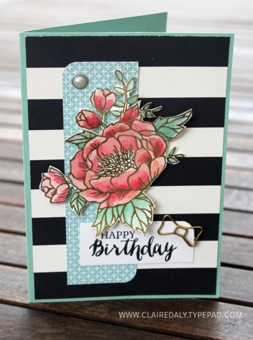 Stampin Up Birthday Blooms watercoloured birthday card by Claire Daly Stampin Up…