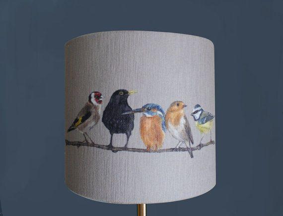 Garden Birds lampshade by Artist Grace Scott