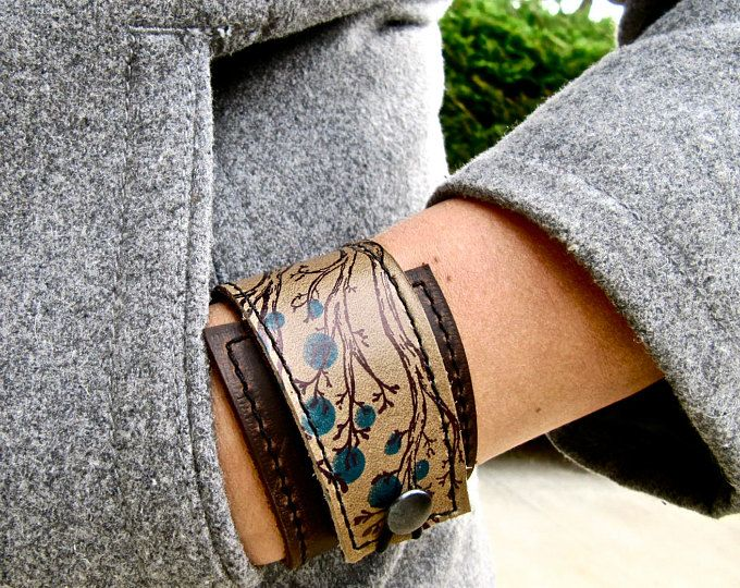 Twiggy Print /& Olive Taupe Leather Cuff Wrap Bracelet * SALE * Coupon Codes Adjustable Size