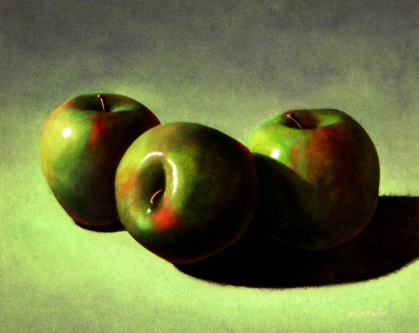 """""""APPLES"""" is a 16 x 20 inch original oil painting on a hardboard panel. $1,600 framed.  Museum Quality Prints are available in eight sizes on your choice of two canvases, five canvas wraps, seven different papers, 1/4 inch acrylic and even on 1/16 inch polished metal!  5 x 7 inch greeting cards are also available."""