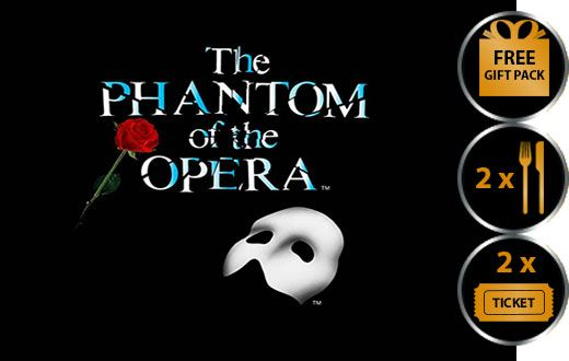 PHANTOM OF THE OPERA THEATRE VOUCHER SHOW AND DINNER FOR TWO THEATRE VOUCHER GIFT PACKAGE Phantom of the Opera the legendary love story unfolds in