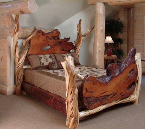 Rustic Slab Bed Available at Woodland Creek Furniture.