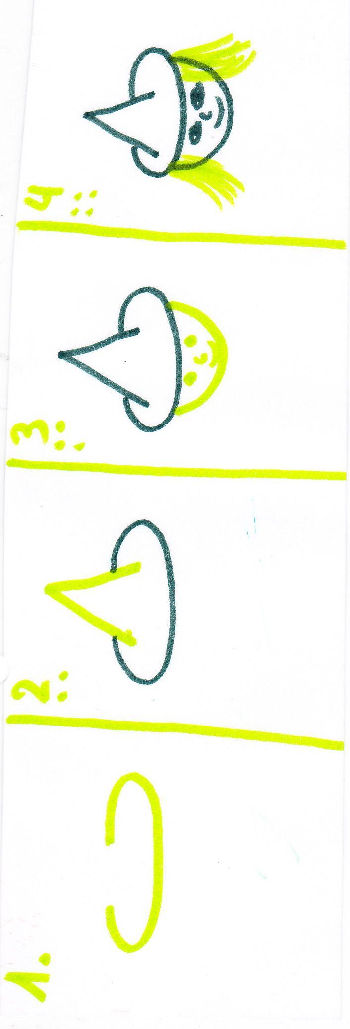 Heks tekenen op krijtbord of papier