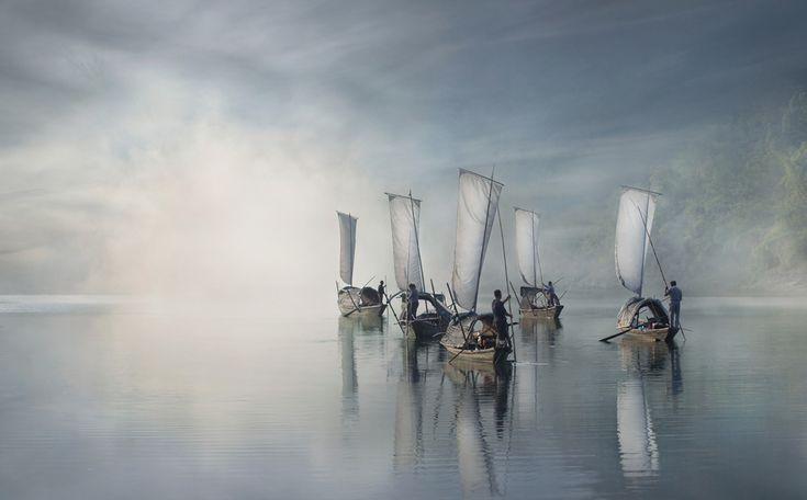 Vincitore della categoria Fotografo dell'anno. Pescatori cinesi sul fiume Ou, a Lishui, nel 2013. - (Vladimir Proshin, Sipa contest)