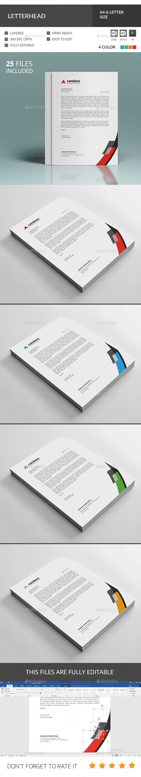 #Letterhead Template - Stationery Print #Templates Download here: https://graphicriver.net/item/letterhead-template/19690911?ref=alena994