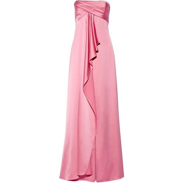 Halston Heritage - Strapless Satin Gown (3.588.385 IDR) ❤ liked on Polyvore featuring dresses, gowns, pink, strapless dress, halston heritage gown, halston heritage dress, pink evening gowns and pink gown