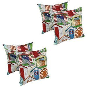 Outdoor/Indoor Throw Pillows with a Cabana Nautical Beach Huts Design, 17-inch Square (Set of 4). These Popular Throw Pillows Add a splash of color and a dash of style to your furnishings. Click On Image For More.  #nautical #Outdoor #throwpillows #pillows #indoor #furniture #patio #treehouse #home #tinyhouse #house #smallspace  #smallspaceliving #rv #motorhome #pool #hallway #bedroom #loft #chair #shells #sea #beach #ocean #scallop #clam #beachhouse  #beachhut #logcabin #cabin #cottage