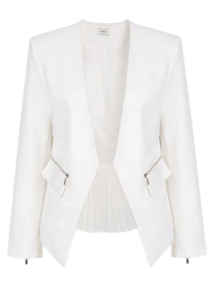 White Zipper Contrast Pleated Hem Crop Blazer 29.90