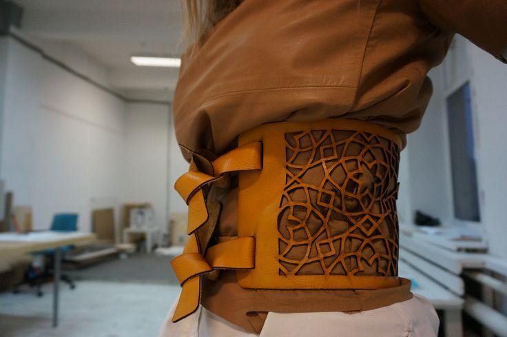 Laser cut leather obi-belt. Made by Make https://www.facebook.com/MakeFabricationStudio