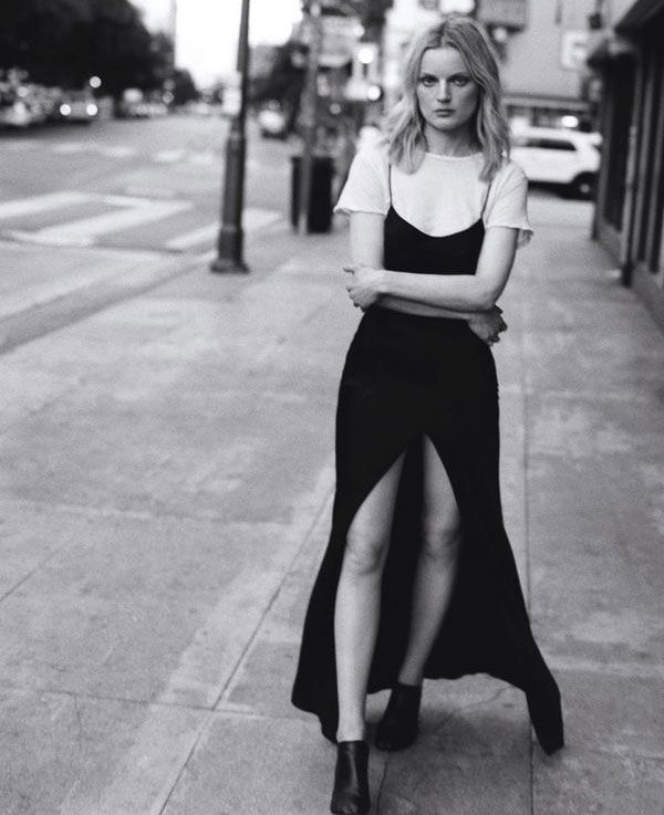 black and white t-shirt under dress street style