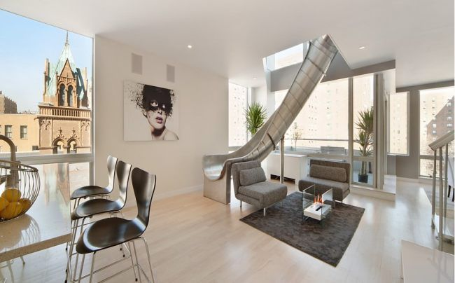 Tobogan en el duplex. Manhattan. En Embelezzia.com