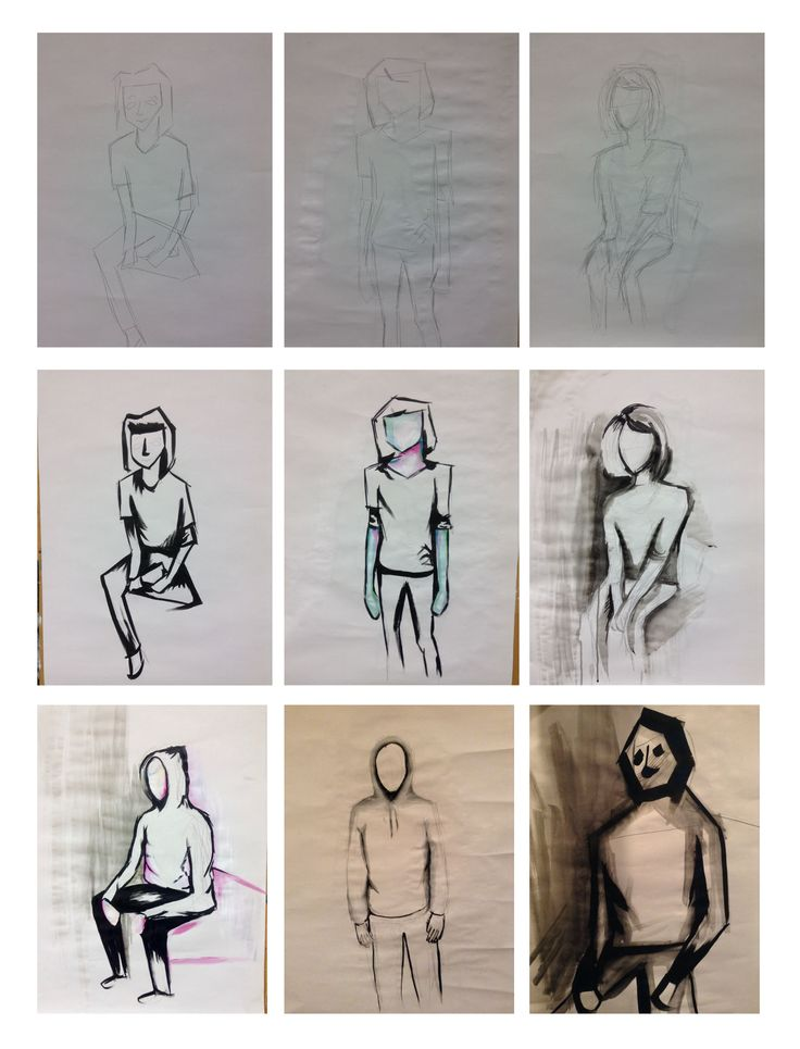 Task 9 - life drawings, then reworking them with other media