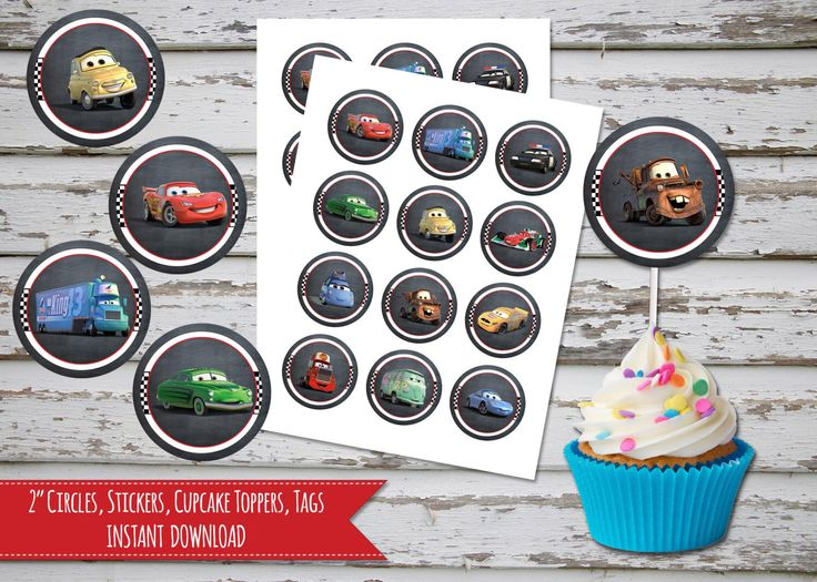 Cars Cupcake Toppers 2 Inch Circles, Stickers, Disney Cars Cupcake Toppers, Tags, Labels INSTANT DOWNLOAD by DebsPrintables on Etsy https://www.etsy.com/listing/254950007/cars-cupcake-toppers-2-inch-circles