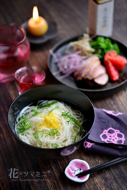 冷やし出汁素麺 - Japanese Umami dashi cold Noodle