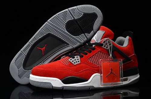 Air Jordan 4 Iv Mens Shoes Fur Red Black Taiwan