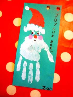 Carte Père Noël Empreinte