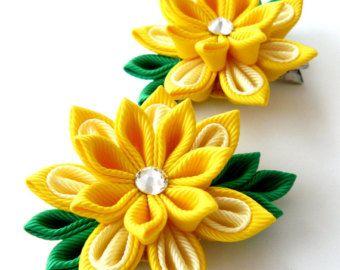 Items similar to Kanzashi Fabric Flower Vintage Leaf Wedding Bridal, Bridesmaids, Flower Girls Headband Beige on Etsy