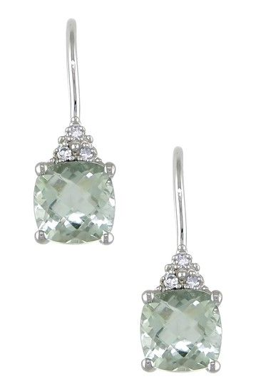 10K White Gold Diamond & Green Amethyst Cushion Drop Earrings