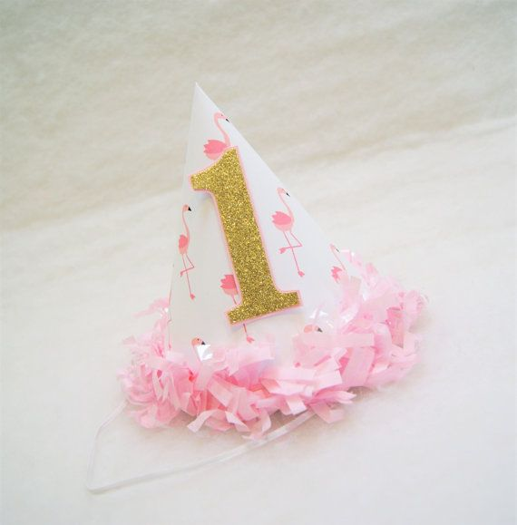 NEW Pink Flamingo Party Hat with Gold Glitter Number - pink tissue fringe trim, flamingo birthday party, gold and pink party