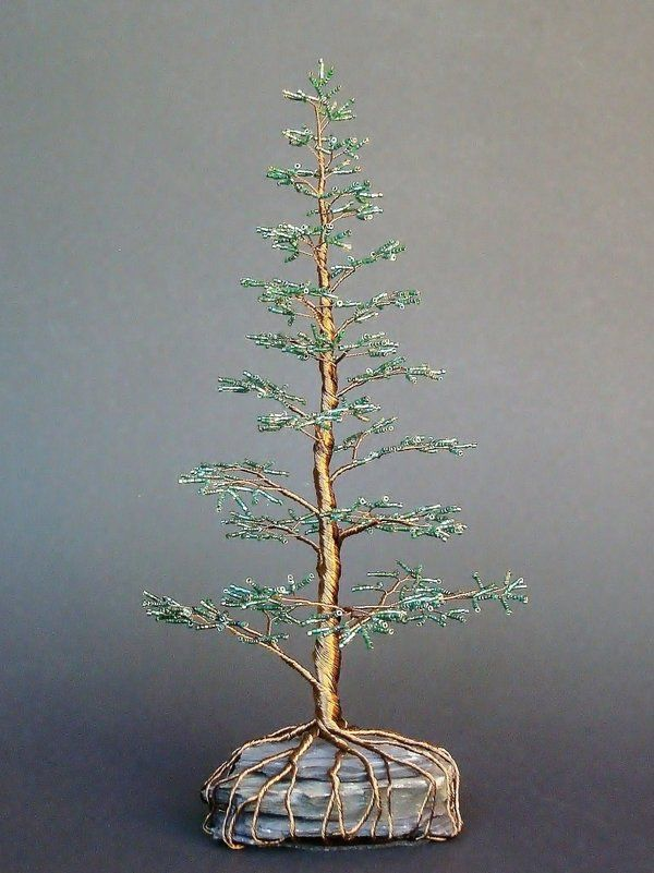 beaded wire tree | Beaded Bonsai Wire Tree Blue Spruce Pine by Creativecravings on ...