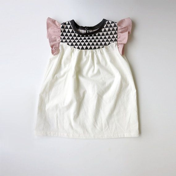 girls' cotton dress with geo print detail by swallowsreturn, $34.00